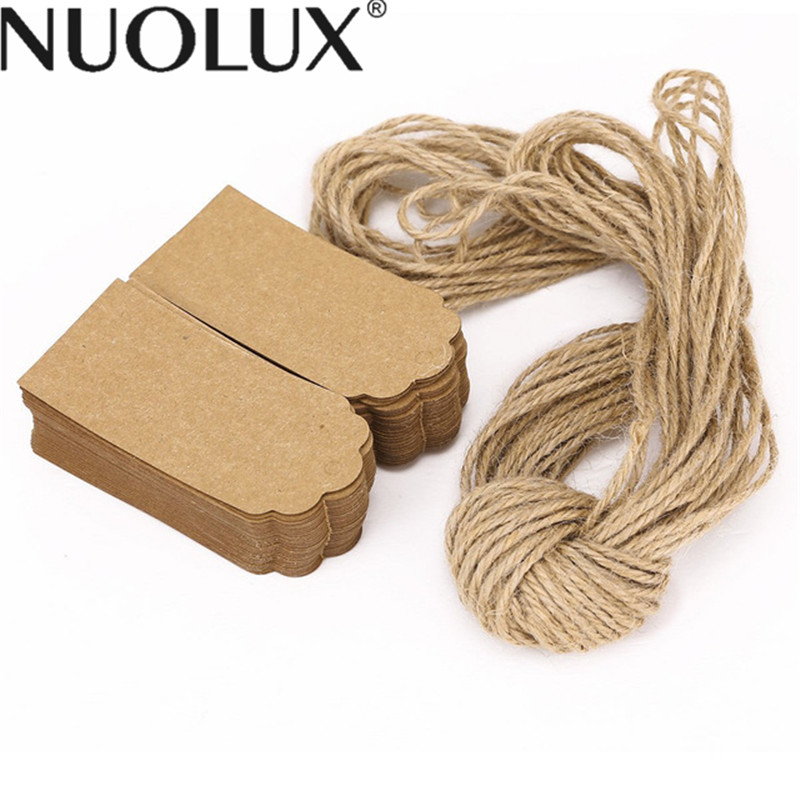 100pcs Rustic 45*90mm Scalloped Kraft Paper Card Blank Wedding Favour Gift Tag Luggage Tag Price Label With 10M Rope