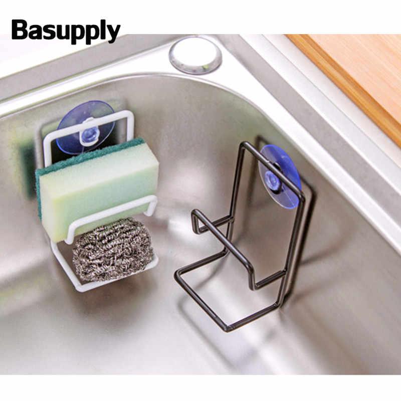 Basupply 1 Pc przyssawka podwójne żelaza stojak spustowy wielofunkcyjny gąbka do przechowywania regały kitchen Sink uchwyt na szczotkę zlew kuchenny i umywalka łazienkowa stojak na