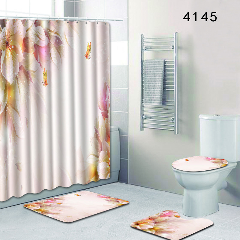 Flower 4pcs Barthroom Rug Set Waterproof Shower Curtain And Bath Mat Set Carpet Toilet Mat Accessories For Home Decor Room Mats