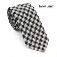 Tailor Smith 100% Cotton black Rosered Plaid Check Tie Fashion Casual Slim Party Suit Necktie Mens Cravate Accessory Handmade