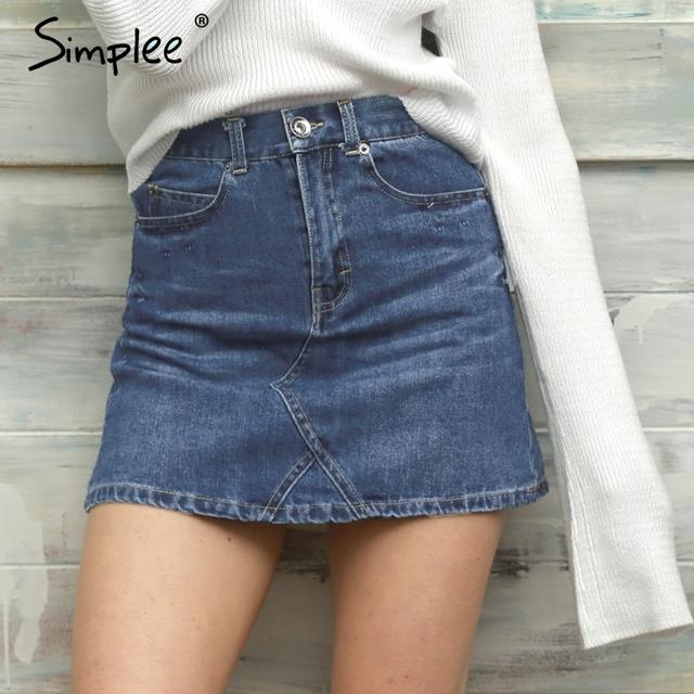 Simplee básica cintura alta falda de mezclilla azul de primavera verano 2017 vintage button pocket streetwear ocasional de la falda corta falda de las mujeres