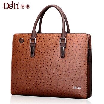 Delin узор кожи страуса сумочку сумка мужская мода бизнес-пакет портфель