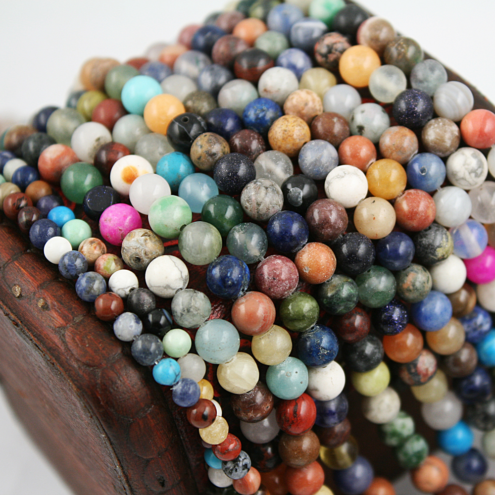 New Arrival! Natural Colorful Mixed Stone Round Beads Wholesale Drop Shipping 468MM Natural Stone Beads for DIY Jewelry