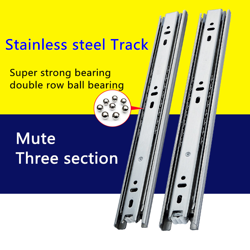 1 Pair HG45VT Stainless Steel Three Sections Drawer Track Slide Guide Rail accessories for Furniture Slide Hardware Fittings