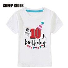 Birthday Tshirts Girl Short Sleeve Girls 3rd Kids Shirts O-Neck Fashion Children Tees Shirt For 2 3 4 5 6 7 8 9 10 Year