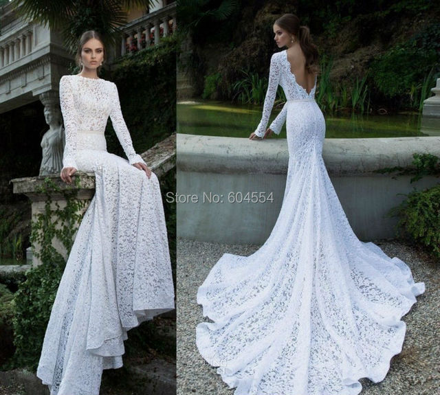 2017 Vestido Noiva Praia Custom Made White Ivory Satin Sash Long Sleeve  Lace Sexy Mermaid Wedding Dress Bridal Gowns 916690577ce2