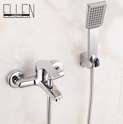 Wall Mounted Bathtub Faucet With Hand Shower Waterfall Bath Faucet Brass Chro