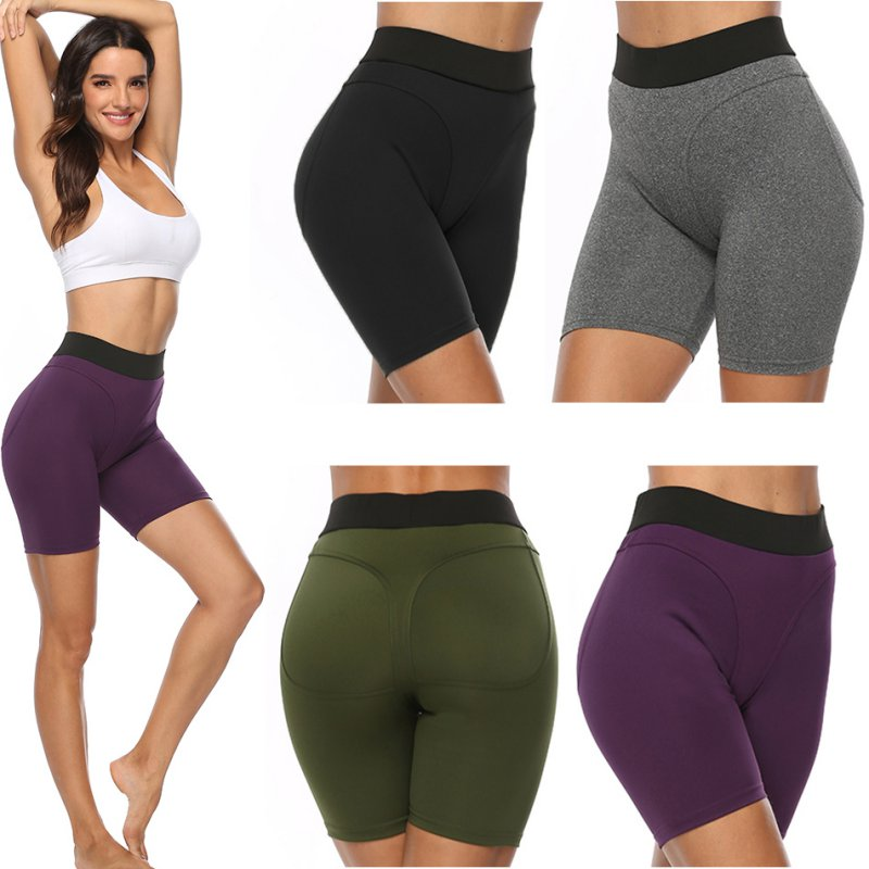 2019 New High Waist Solid Shorts Sexy Ladies Fitness Sports Shorts Moisture Wicking Shorts Fitness Running Cycling Shorts
