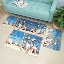 Комплект из 3 предметов Средиземноморский Стиль коврики для ванной комнаты Набор ковриков для ванной утолщаются 3D печатных Ванная комната напольные ковры коврик для туалета туалет коврик