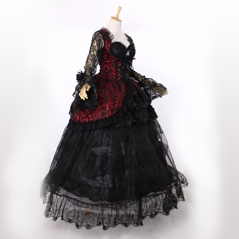 Hot Sale 2016 Black Long Sleeves Lace Gothic Victorian Banquet Dress 18th Century schwarz Marie Antoinette Dress