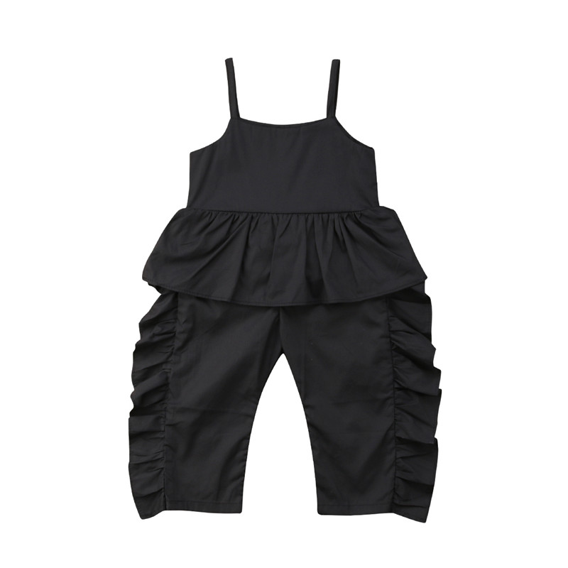 Kids Girls Clothes Baby Girls Ruffles Suspenders Jumpsuit Children Black Summer Romper Sleeveless Jumpsuit Long Trousers Outfits