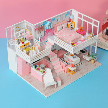 Cutebee Doll House Furniture Miniature Dollhouse DIY Miniature House Room Box Theatre Toys for Children stickers Dollhouse NJ11A фото