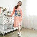 Otoño de Las Mujeres Camisones de Manga Larga de Cuello Redondo de Algodón Vida Ladies Camisón Camisón de dormir ropa de Dormir para Las Mujeres