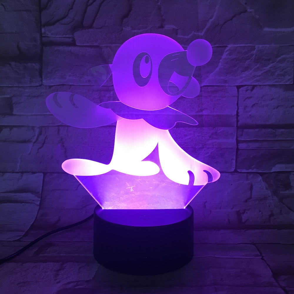 Pokemon Go Popplio Figure Baby Night Lamp LED Color Changing Bedside luminaria Kids Gift Usb Led Night Light Children Popplio in LED Night Lights from Lights Lighting