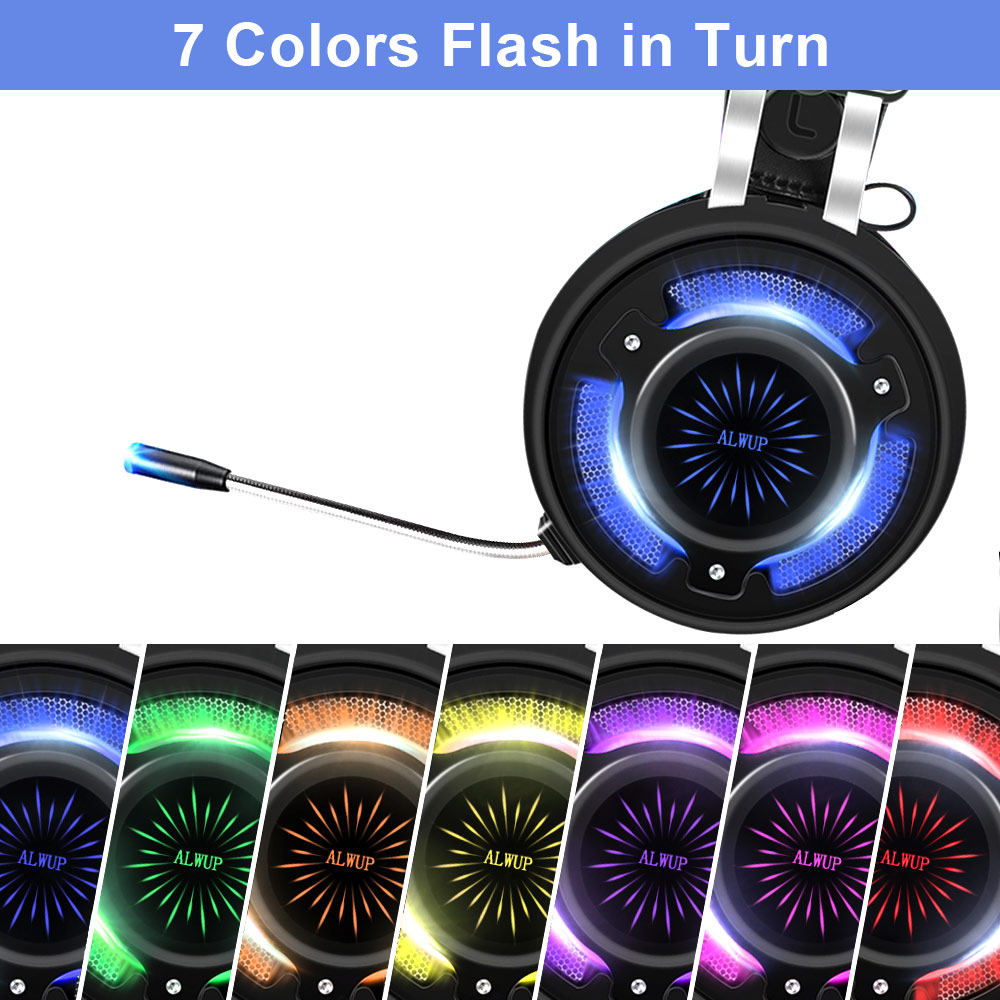 alwup 6 gaming headset for ps4 xbox one with microphone gaming headphones for computer pc games with splitter 7 colors led light in headphone headset from  [ 1000 x 1000 Pixel ]