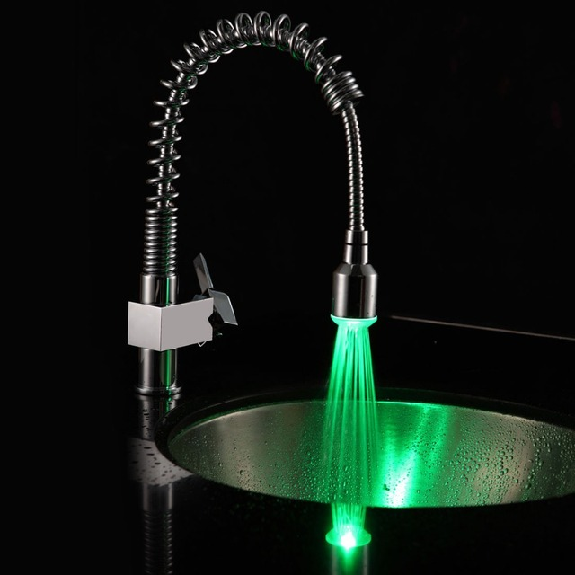 Free Ship Chrome LED One Handle Kitchen Faucet Pull Out Spray Swivel Spout  Solid Brass