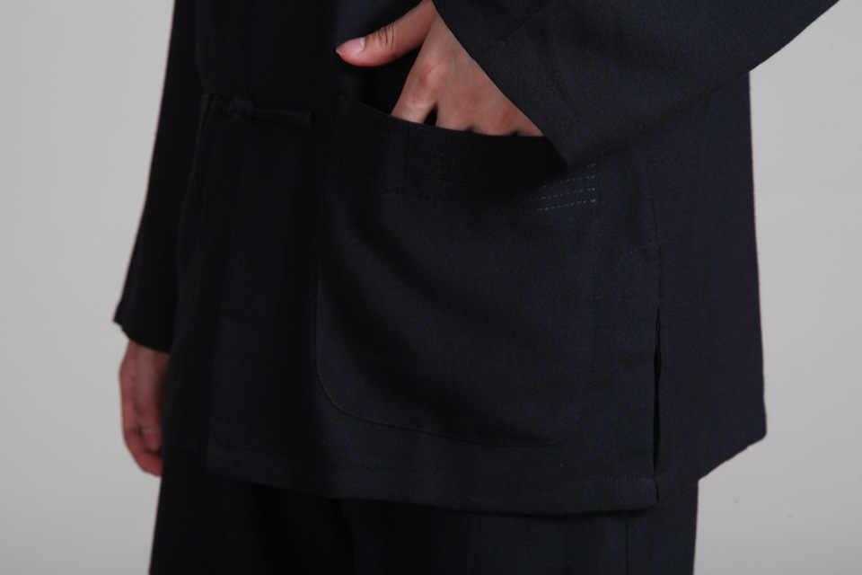 Черные мужские хлопок лен кунг-фу Рубашка с длинными рукавами Традиционный китайский классический Костюмы Hombre Camisa Размеры M, L, XL, XXL, XXXL 2352-G