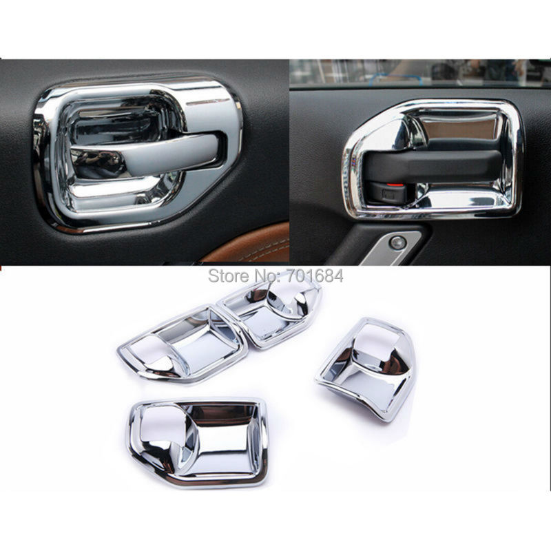 Chrome Interior Door Handle Bowl Covers Inner Trim For Jeep Wrangler ...
