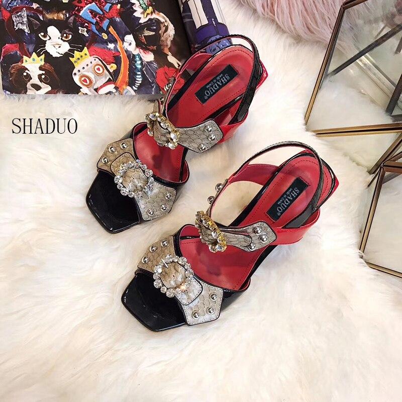 2018 shaduo Luxury women Patent leather stitching imported snakeskin rhinestone high heels rivet fish mouth female