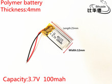 1pcs 3 7V 100mAH 401225 PLIB polymer lithium ion Li ion battery for GPS mp3 mp4