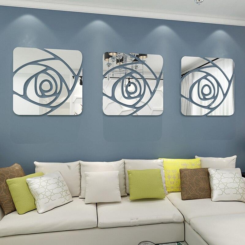 1 ensemble 3 pièces moderne canapé miroirs muraux décor à la maison canapé fond mur miroir autocollants 3d