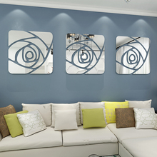 1 set 3pcs Modern sofa wall mirrors home decor background mirror stickers 3d