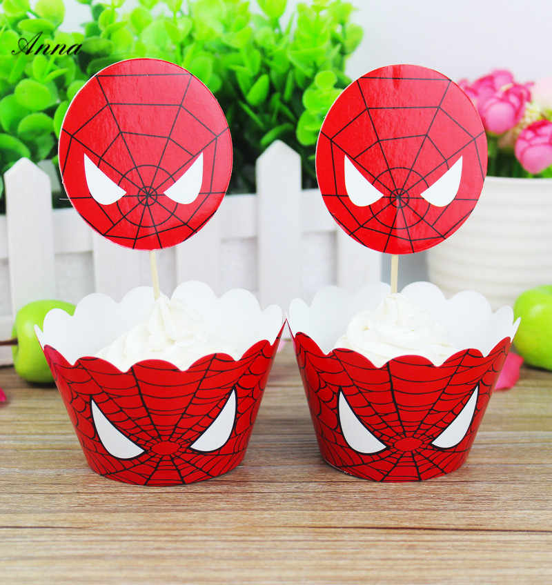 24 PC Spiderman Bayi Kebaikan Birthday Spiderman Perlengkapan Pesta Cupcake Shower Cupcake Toppers Pilihan Dekorasi Favor