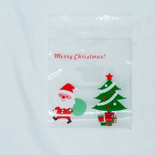 25pcs/lot 2018 Cute Snowflake Snowman Santa Xmas Festival Gifts Holders Bake Biscuit  Cookies Candy Plastic Packaging Bags