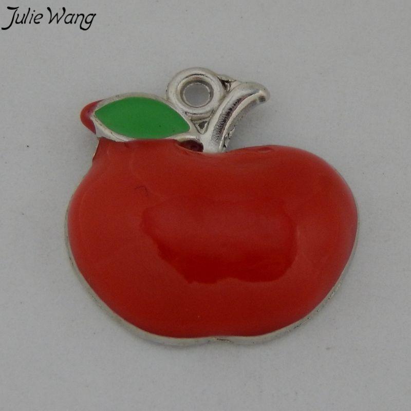 Julie Wang 15pcs Red Enamel Apple Shape Pendant One Side Charm for Handmade Necklace Women Bracelet Jewelry Accessory