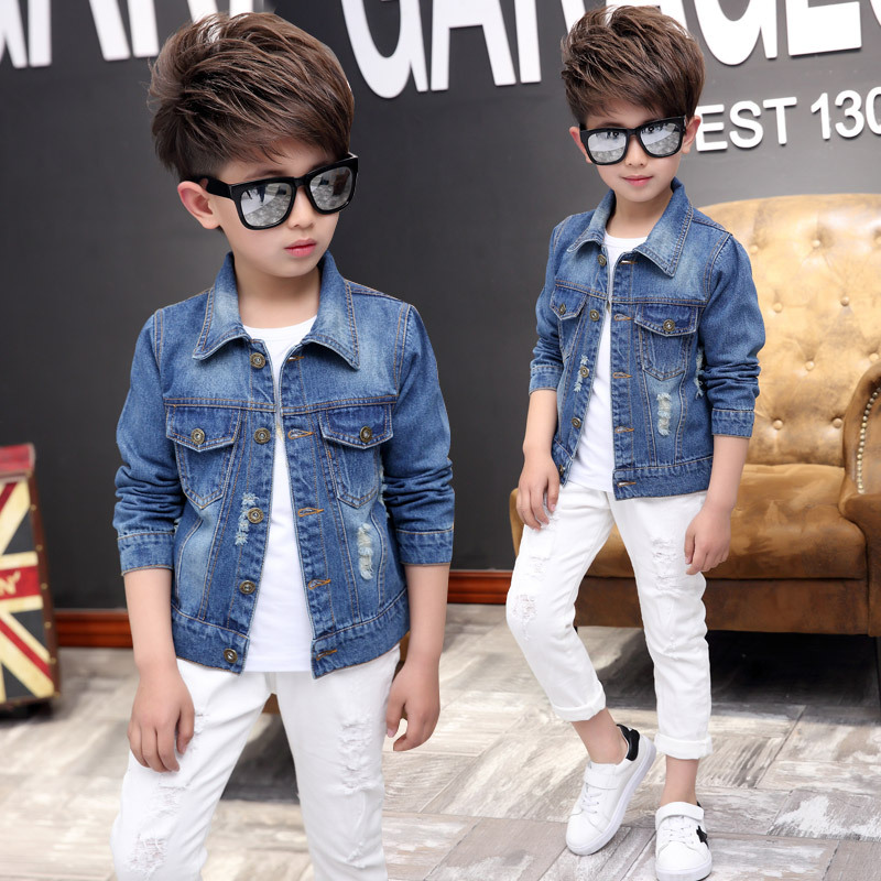 Boys Outerwear Coats Casual Spring Fall Denim Jackets for Kids Children Pure Color Cowboy Coat Hole Blue Jeans Clothing 3-14 Y