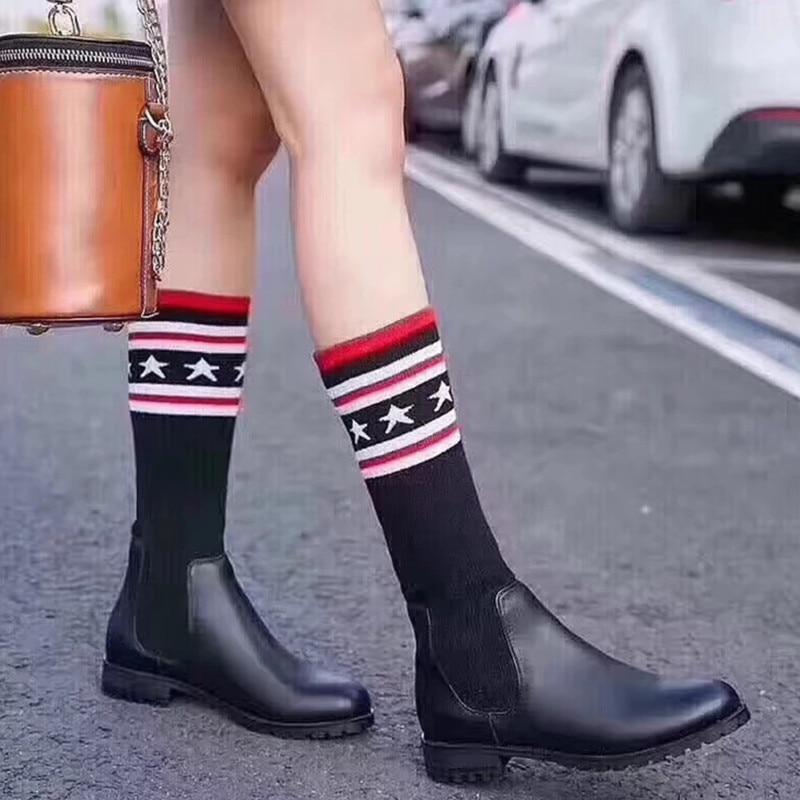 Kniting Partie Chaussures Mode Véritable Femmes Mujer Botines 30cm Cuir 57cm En Sur Zapatos De le Bottes Genou Feminina Bande Bota 47cm Classique H9E2ID