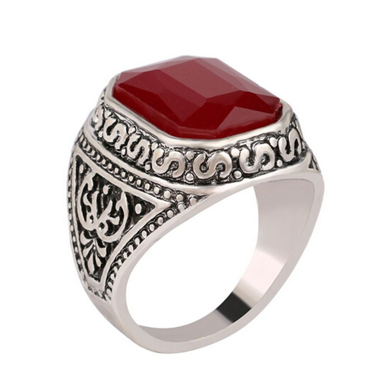 Size 7 12 Men Rings Big Black/Red Carved Stone Antique Silver ...