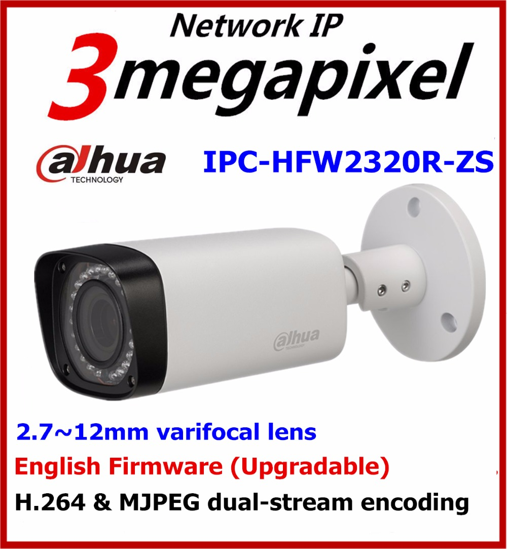 DaHua 3MP IR PoE Motorized IP Camera IPC-HFW2320R-ZS Bullet Camera with SD Card Slot Replace for IPC-HFW2300R-Z 2.7mm~12mm Onvif