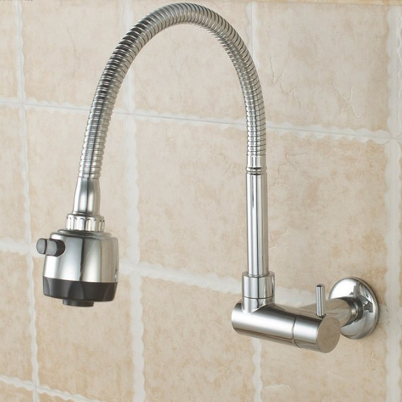 In-wall Kitchen Single Cold Faucet Basin Basin Sink Mop Pool Faucet Mop Pool Nozzle Universal Rotating Copper LO41118