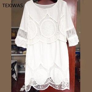 Image 4 - TEXIWAS Plus Size S   6XL Women Summer Dress Fashion Half Sleeve Loose Lace Dress 2018 White O neck Women Dress