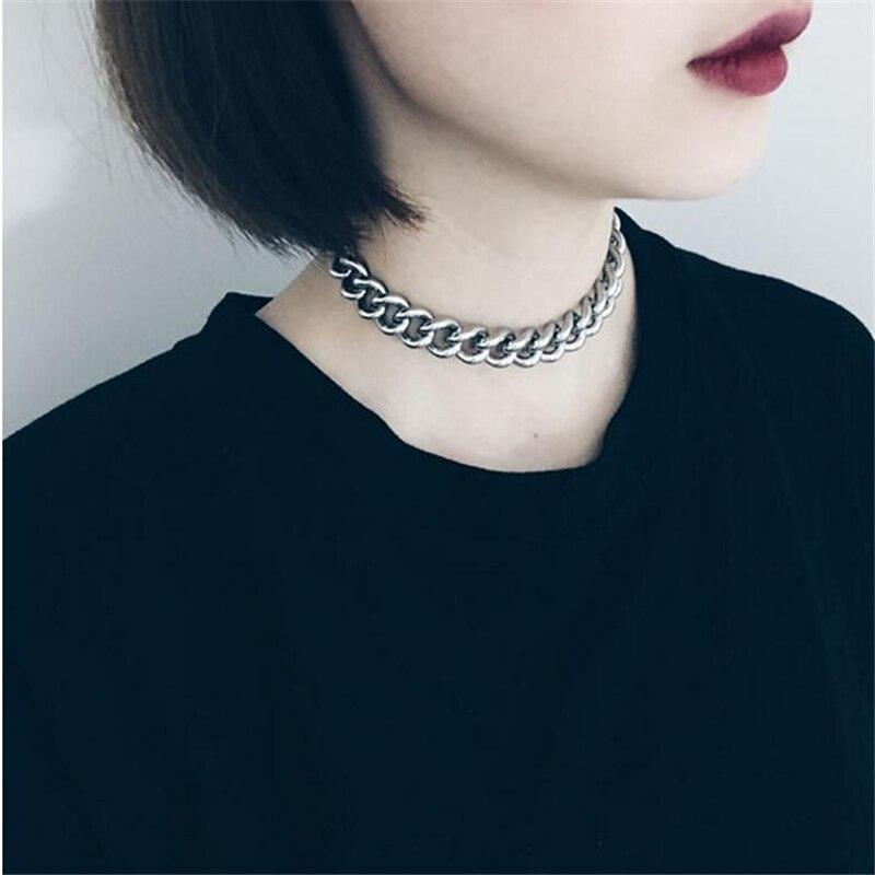 Gothique Chunky collier ras du cou en acier inoxydable Punk déclaration collier femmes Kettingen Kolye bijoux Vintage collier femme 2017