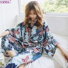 Sonbahar 2 adet bayanlar pijama gece kıyafetleri Pijamas kadınlar pijama artı boyutu gecelik çiçek yaprak kadın pijama seti