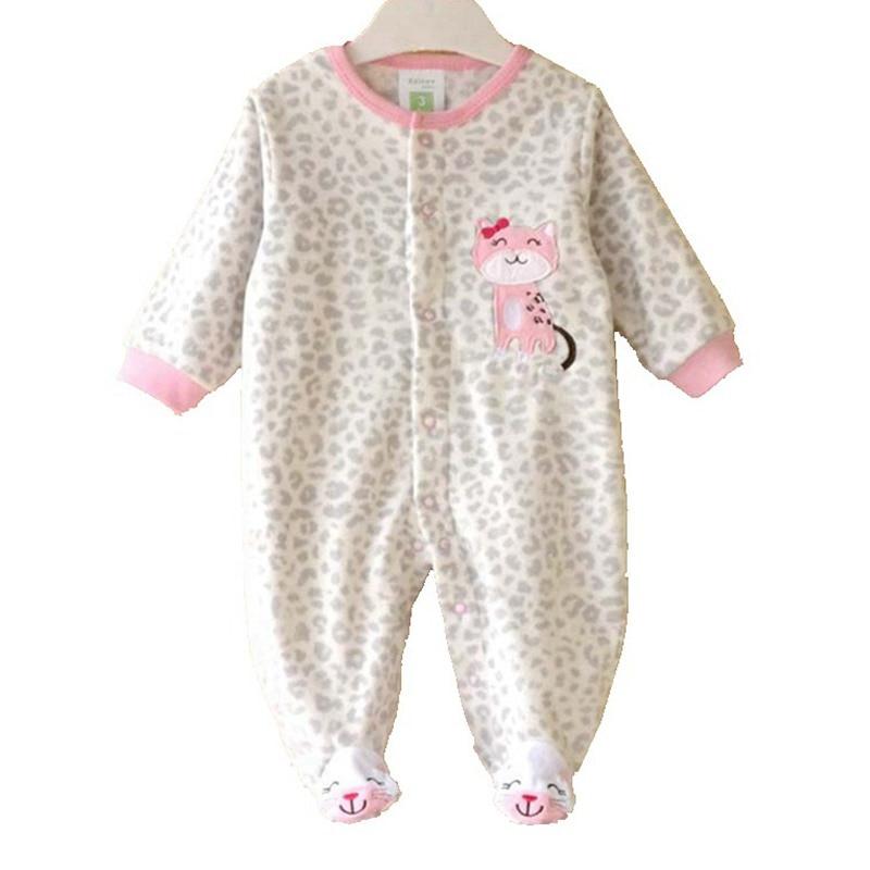 leopard cat super fleece girls romper body baby overalls. Black Bedroom Furniture Sets. Home Design Ideas