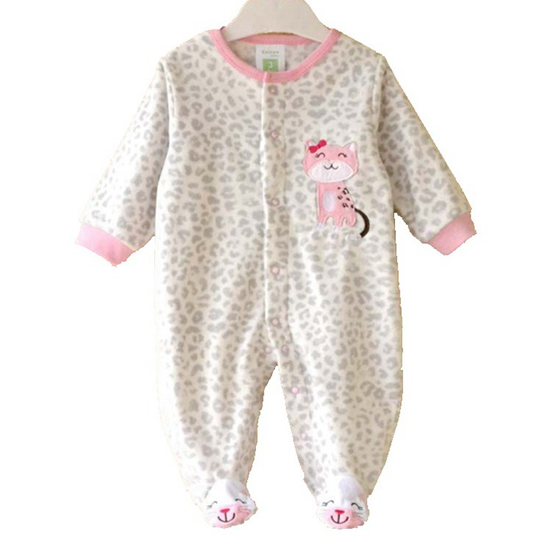 Leopard Print Cat Super Fleece Girls Romper Body Baby Overalls for Toddler Jumpsuit New Born Autumn Bebe Clothing Infant Clothes