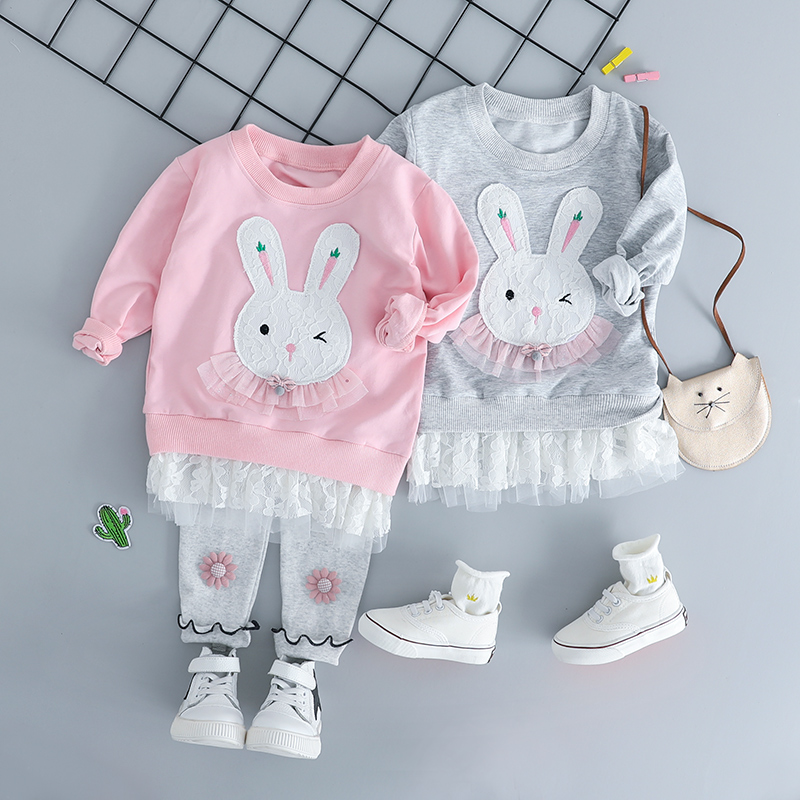 HYLKIDHUOSE Autumn Baby Girl Clothing Sets Infant Clothes Suits Cartoon Rabbit T Shirt Lace TUTU Pants Kid Child Clothes Suits sxdool fd241238eb 12038 12cm 24v 0 52a dual ball bearing cooling fan 3000rpm 135cfm