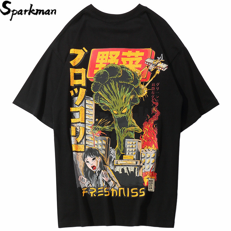 2019 Men Hip Hop   T     Shirt   Japanese Harajuku Cartoon Monster   T  -  Shirt   Streetwear Summer Tops Tees Cotton Tshirt Oversized HipHop