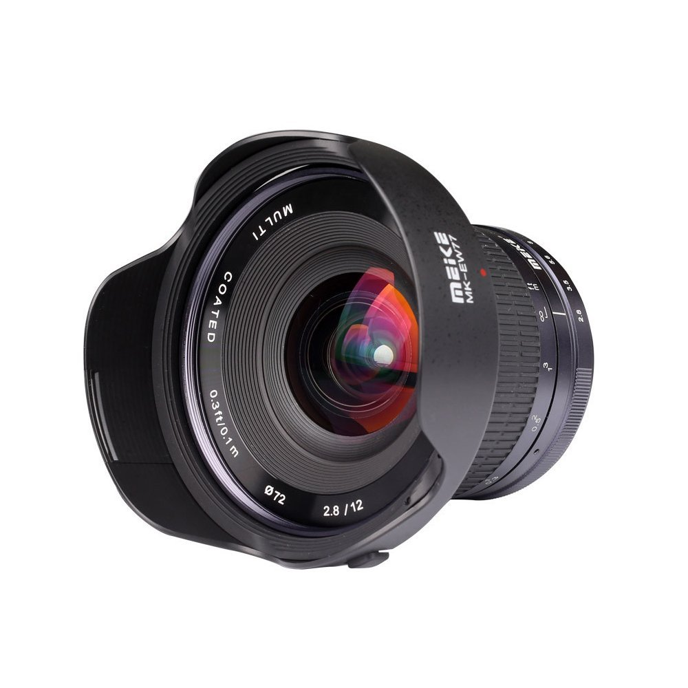 MEKE 12mm f/2.8 Ultra Wide Angle Fixed Lens with Removeable Hood for Sony Alpha and Nex Mirrorless Camera with APS-C meike 12mm f 2 8 wide angle fixed lens with removeable hood for panasonic olympus mirrorless camera mft m4 3 mount with aps c