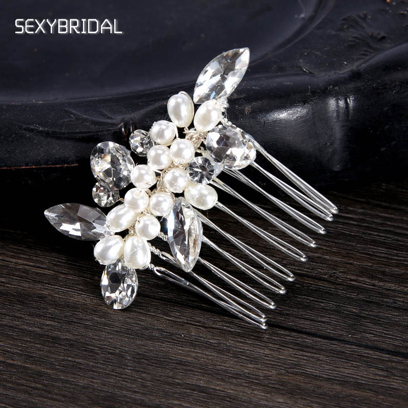 Small Hair Combs For Bride Crystal Peal Rhinestone Hair Clip Bridal Hair Accessories Hairpins Tiara Wedding Noiva Hair Jewelry ...