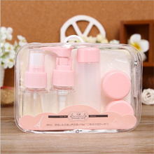 1 Set Portable Refillable Bottles Spray Pump Bottle Face Cream Boxes Facial Puff Travel Kits 8318689