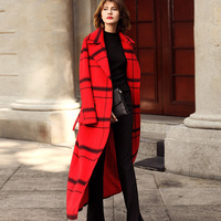 New Winter Women Wool Coat Long European Plaid Red Spring Female Cashmere Coat Turn Down Collar Overcoat Outwear Jacket G138