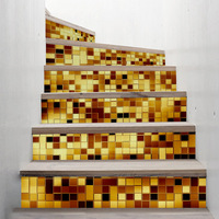 Funlife Classic Gold / Silver Mosaic Design self adhesive staircase stickers,Floor Mural Decals Home Decor