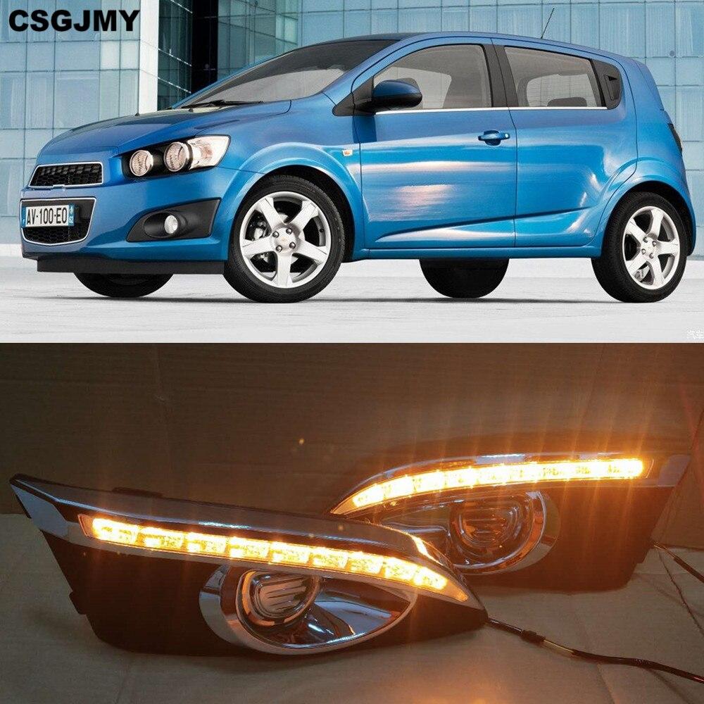 CSGJMY 2pcs 12V Car LED DRL Daytime Running Lights Daylight With Turn Signal lamp For Chevrolet