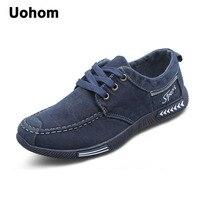 Uohom New 2018 Fashion Canvas Men Shoes Denim Lace Up Men Casual Shoes Breathable Male Footwear