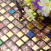 Mini Square Pink Color Crystal Glass Mixed Golden Metal Mosaic Kitchen Backsplash Glass Mosaic Tile Bathroom