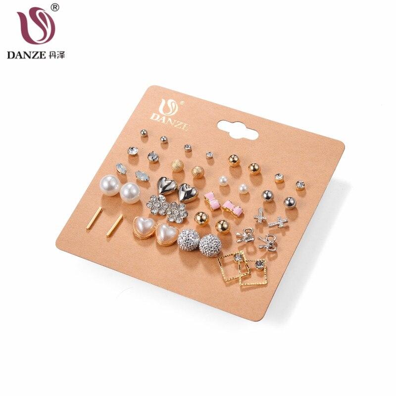 DANZE 20 Pairs / lot Punk Mixed Birds Star Heart Cross en forma de pequeño Stud pendientes para mujeres joyería de perlas de imitación kolczyki
